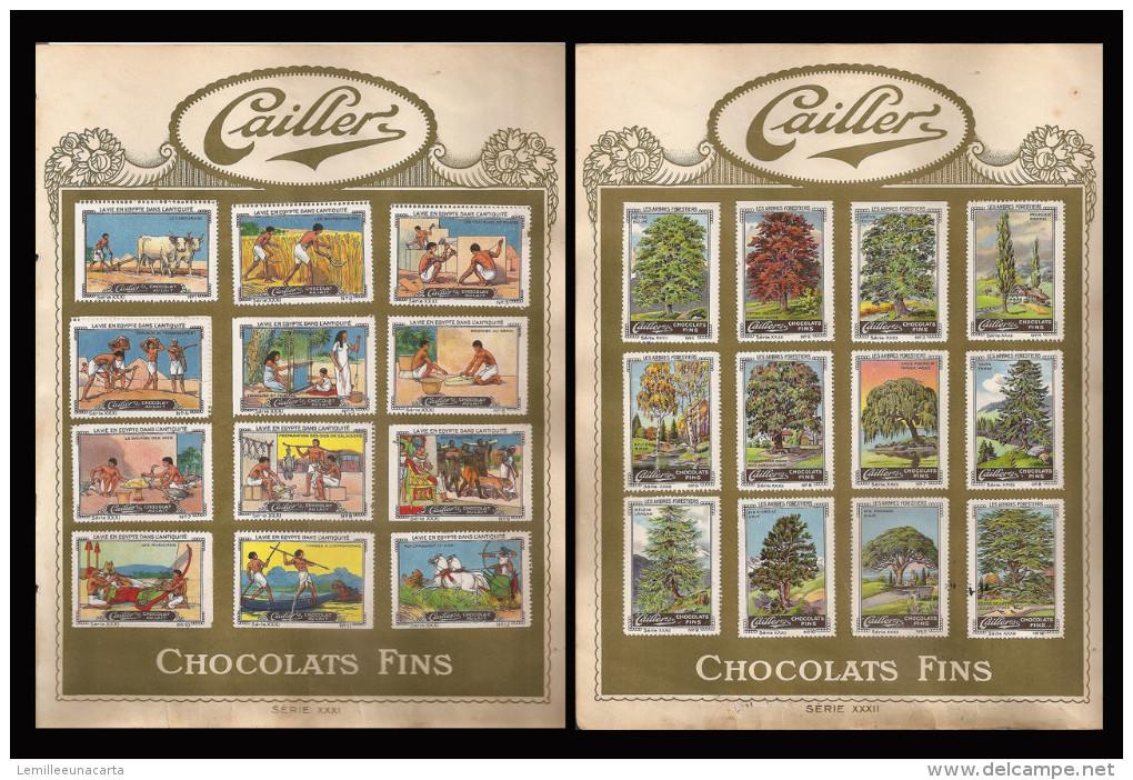 Cioccolato - SERIE FIGURINE CAILLER - CHOCOLAT (SERIE XXXI La Vie En Egypte Dans L´antiquité SERIE XXXII Les Arbres - Cioccolato