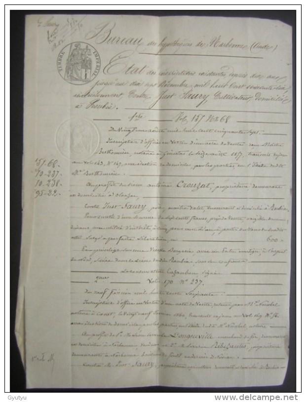 Narbonne 1866 état D'hypothèques Antoine Crouzat Contre Just Saury De Roubia 6 Pages - Manuscripts