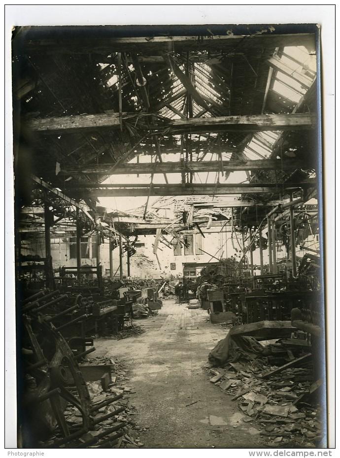 France Ruines De Reims WWI Première Guerre Mondiale Usine Atelier Ancienne Photo Wentzell 1919 - Places