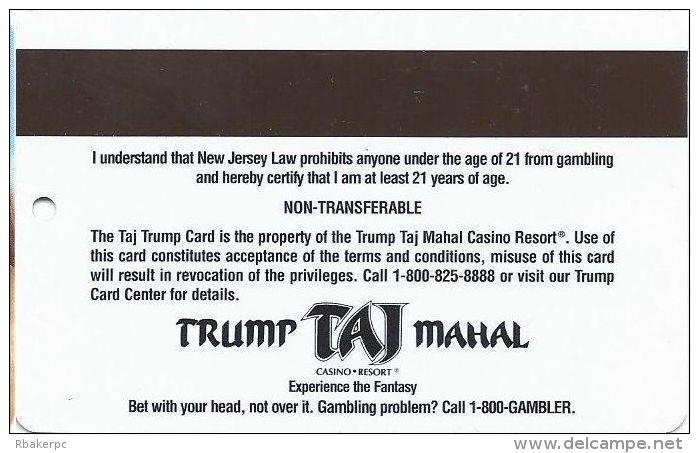 Trump Taj Mahal Casino Atlantic City NJ - Slot Card - BLANK With Photo Square - Casino Cards