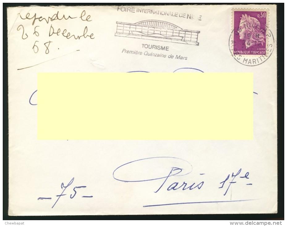 France - Enveloppe Avec Flamme, Foire Internationale De Nice, Tourisme Premiere Quinzaine De Mars 24.12.1968 - Marcophilie (Lettres)