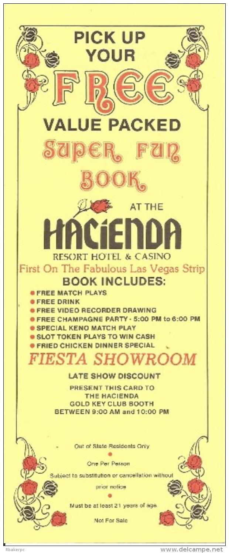 Hacienda Casino Las Vegas, NV - Paper Free Super Fun Package Coupon - Advertising