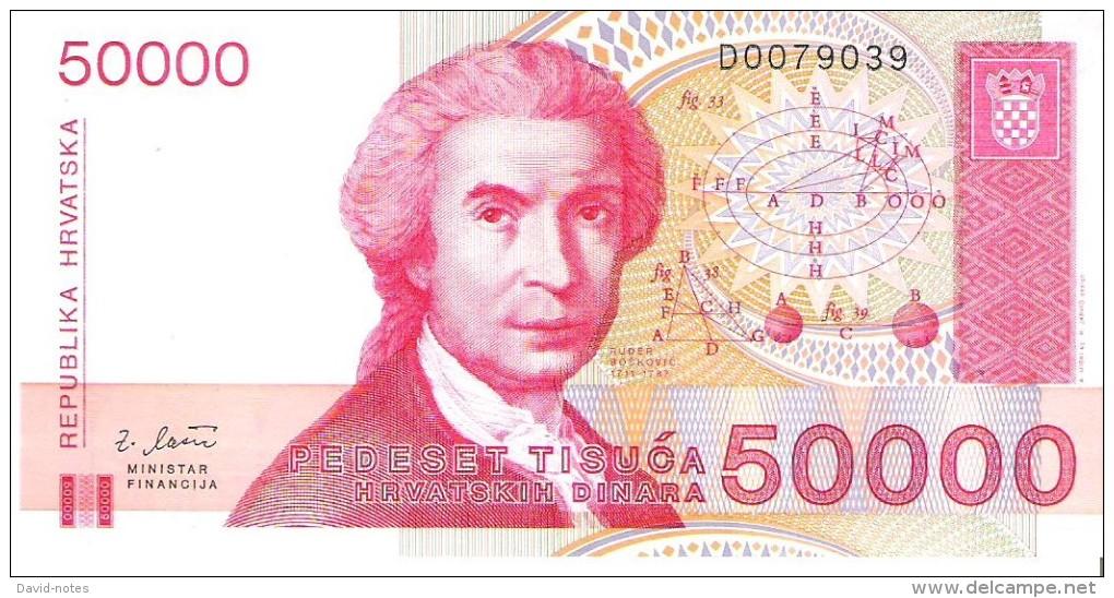 Croatia - Pick 26 - 50.000 (50000) Dinara 1993 - Unc - Croatie