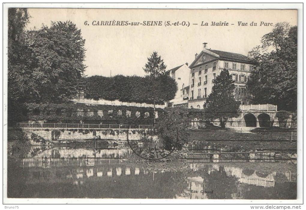 78 - CARRIERES-SUR-SEINE - La Mairie - Vue Du Parc - 1936 - Carrières-sur-Seine