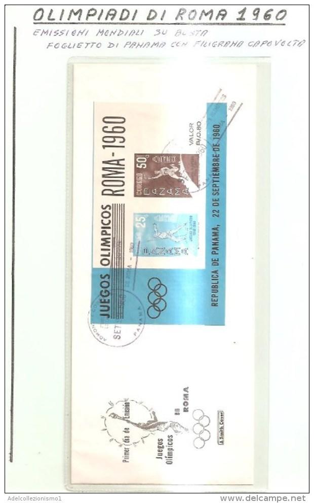 63846) Panama-fdc- Con Bf. 8. Con Filigrana Capovolta Della Serie  Dei Giochi Olimpici Di Roma 23-9-1960 - Panama