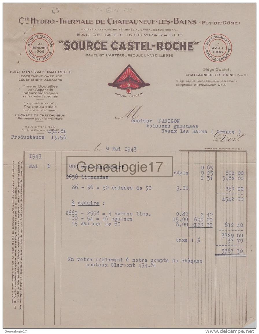 63 1526 CHATEAUNEUF LES BAINS PUY DOME 1943 Cie HYDRO THERMALE SOURCE CASTEL ROCHE Eau De Table A FARIGON - France