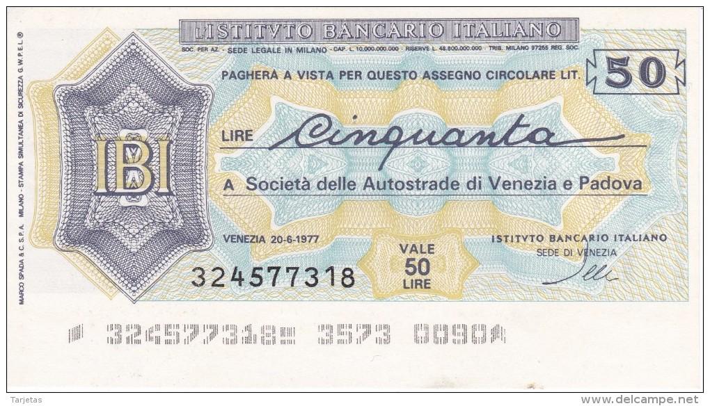 BILLETE DE ITALIA DE 50 LIRAS  INSTITUTO BANCARIO ITALIANO  (BANKNOTE) - [10] Cheques Y Mini-cheques