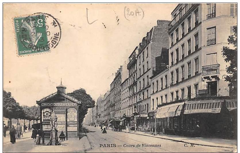 75 - PARIS - Cours De Vincennes - Ref U014 - Arrondissement: 20