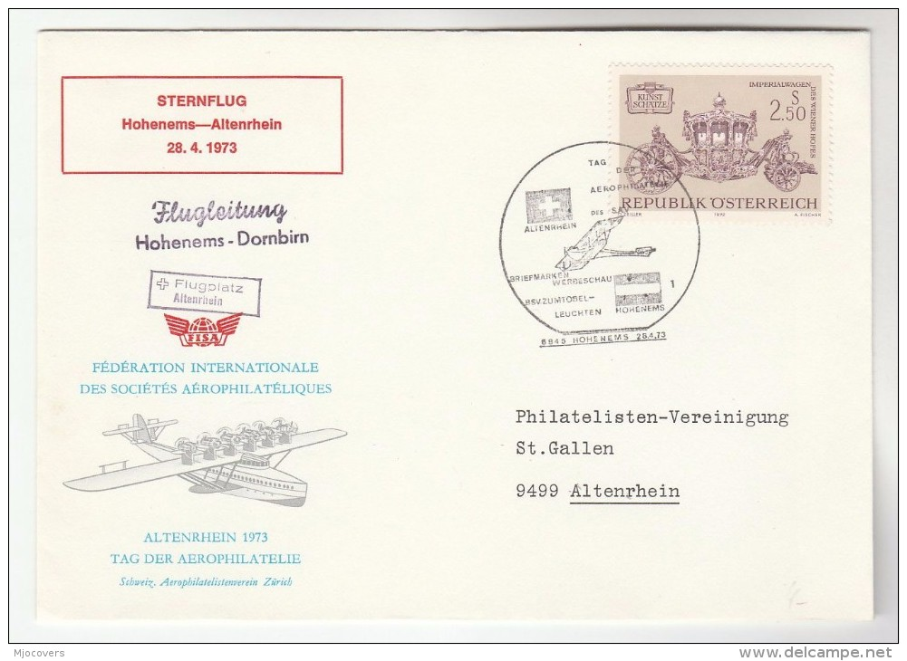 1973 Hoheneme AEROPHILATELY FEDERATION Special FLIGHT COVER Aviation Stamps Austria - Airplanes