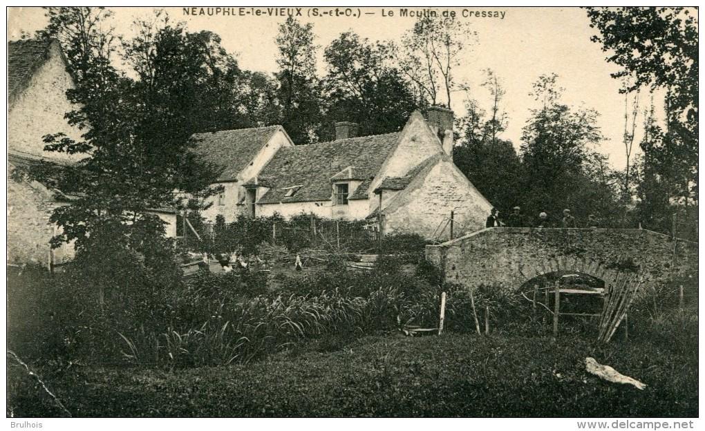 Cpa 78 Neauphle Le Vieux Le Moulin De Cressay Le Pont Animée écrite Timbrée 1924-dans L'état- - France