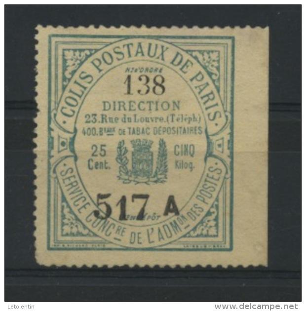 FRANCE -  COLIS POSTAUX DE PARIS POUR PARIS - 1897-98- 25c ENVOI EN NOMBRE (TIMBRE) -  MAURY N° 26 (*) - Mint/Hinged