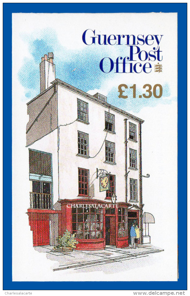 GUERNSEY/GUERNESEY 1991 BOOKLET COVER GOLDEN LION PUB £1.30p S.G. G B43 CARNET  YT C518a(I) - Guernesey