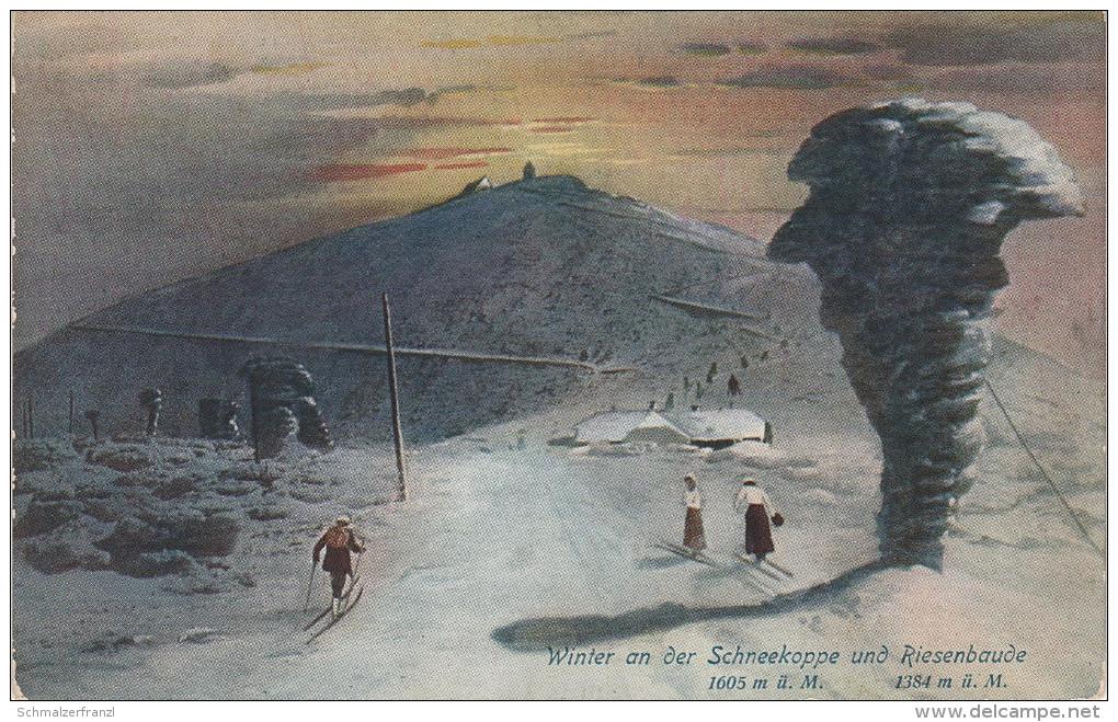 Dreifarbendruck Künstler AK Riesengebirge Riesenbaude Schneekoppe Winter Baude Gasthof Bei Petzer Pec Krummhübel Karpacz - Sudeten