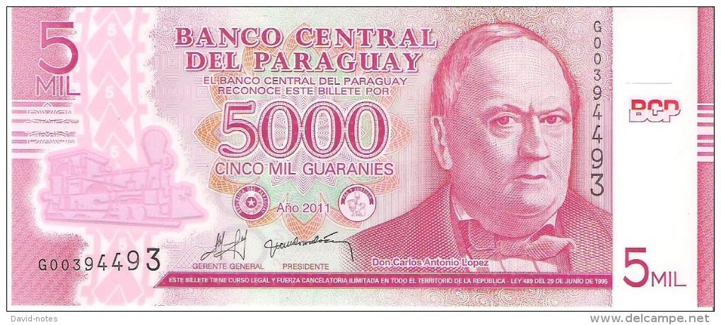 Paraguay - Pick 234  - 5000 Guaranies 2011 - Unc - Paraguay