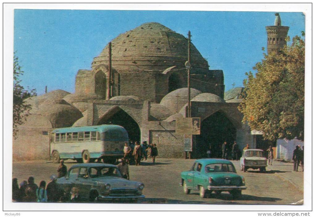 Ouzbekistan--BUCKHARA--The Toki Telpakfururushon Market Cupola (animée,voitures,autocar) 14 X 9 N°P03341 - Uzbekistan