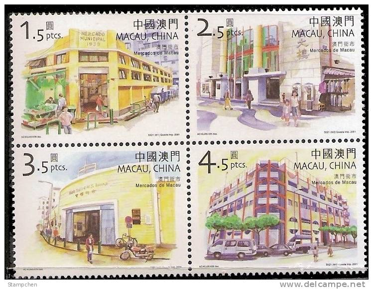 2001 Macau/Macao Stamps - Markets In Macao Motorbike Bicycle Car Architecture - 1999-... Chinese Admnistrative Region