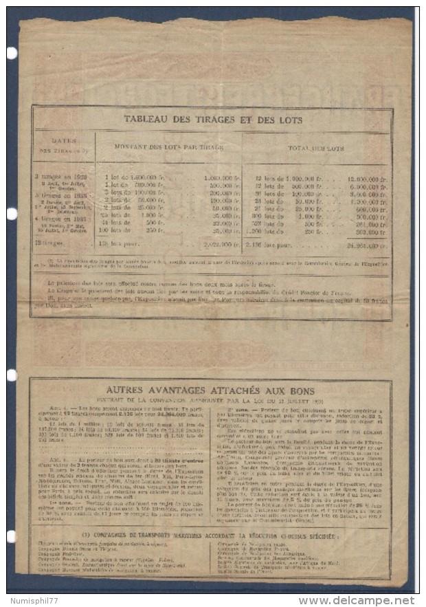 BON A LOT De 60 FRANCS AU PORTEUR Avec COUPONS EXPOSITION COLONIALE INTERNATIONALE PARIS 1931 - Actions & Titres