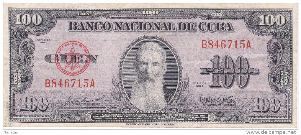 BILLETE DE CUBA DE 100 PESOS DEL AÑO 1954 DE AGUILERA  (BANKNOTE) - Cuba