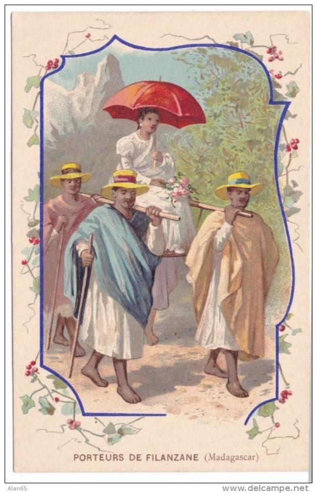 Porteurs De Filanzane, Madagascar, Source St. Colomban Collection C1900s Vintage Postcard - Madagascar