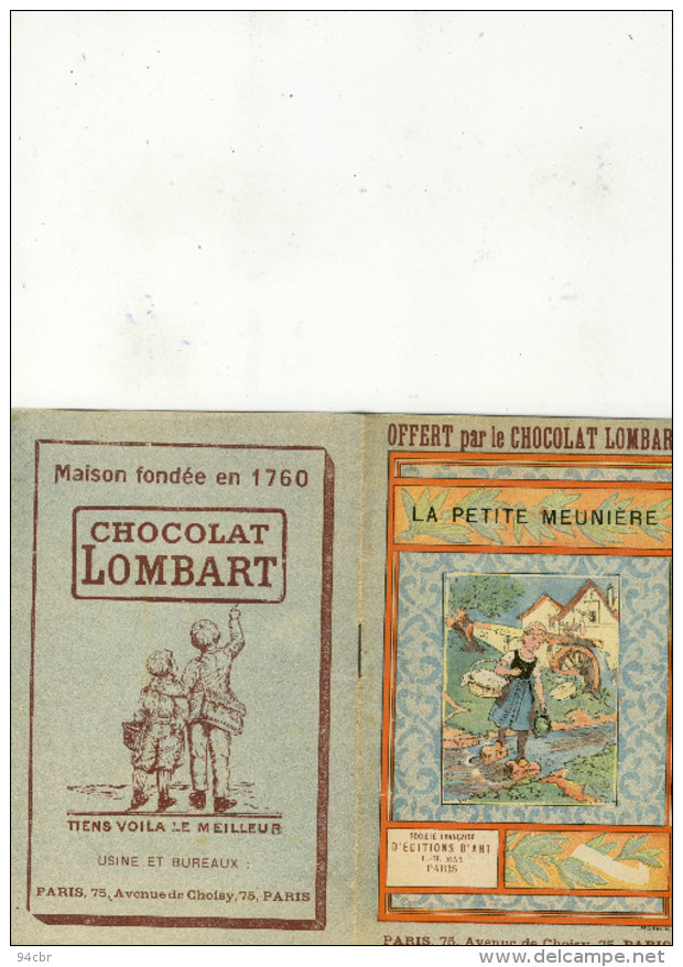 Petit Livre Publicitaire  Enfant 10x16.5(chocolat Lombart)la Petite Meuniere (b Vieux Papiers) - Advertising