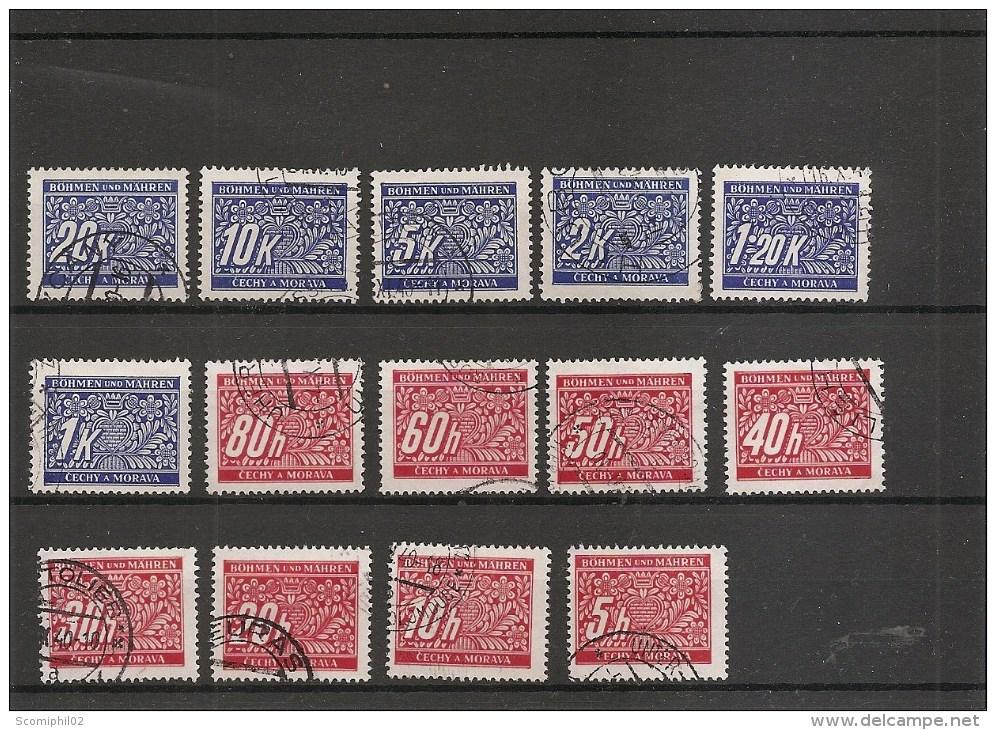 Boheme-Moravie ( Taxes 1/14 Oblitérés) - Used Stamps