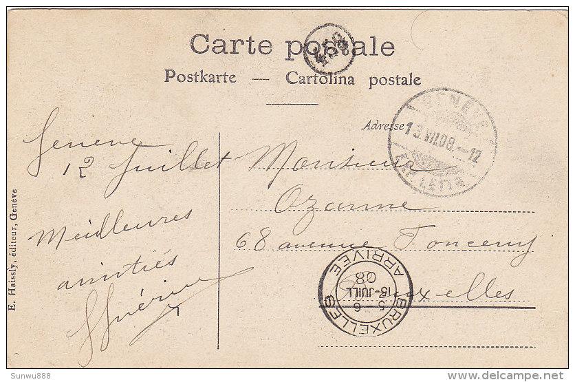 Genève - Rue Du Mont-Blanc (animation, Hôtel, Tramway, Tram, E. Haissly, 1908) - GE Genève