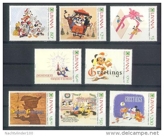 NciD525 WALT DISNEY MICKEY GOOFY DONALD MUIS HOND DOG PLUTO CHRISTMAS CARDS TRAM MICE GUYANA 1991 PF/MNH # - Disney
