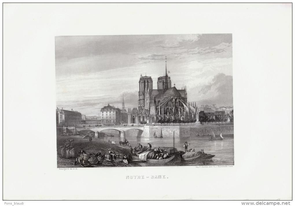 1856 - Gravure Sur Acier - Paris (1er Arrondissement) - La Cathédrale Notre-Dame - FRANCO DE PORT - Estampes & Gravures