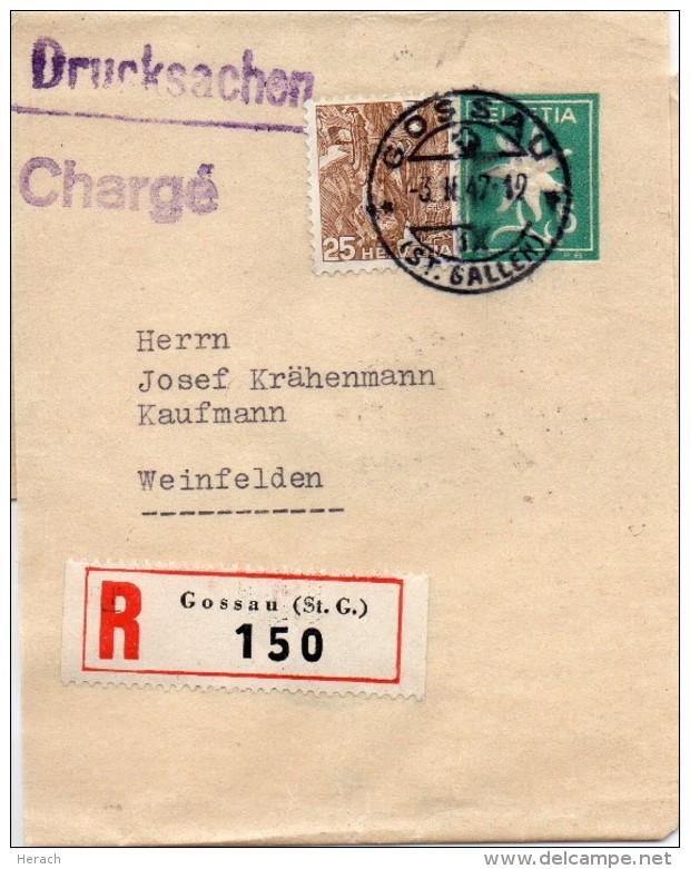 Suisse Entier Postal Bande De Journal Recommandé Gossau 1947 - Entiers Postaux