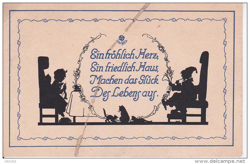 AK Scherenschnitt - Ein Fröhlich Herz... - Ca. 1910 (22554) - Silhouettes