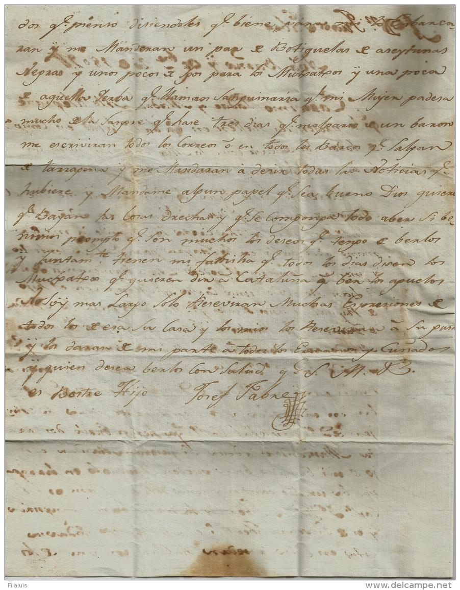 02261 Periodo Colonial Prefilatelia 1809 Carta Con Marca CUMANA / Venezuela A VilLanova I Geltru. - ...-1850 Prefilatelia