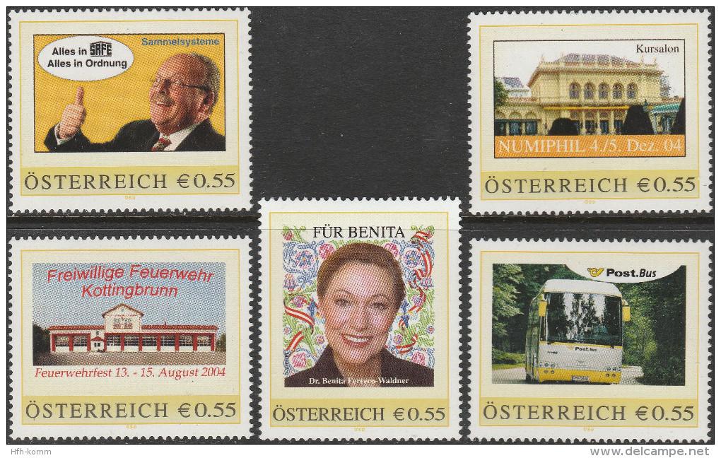 """AUSTRIA 5 PERSONALISIERTE BRIEFMARKEN """"8001496+8001495+8002611+8001048+8001013"""" MNH / ** / Postfrisch - Personalisierte Briefmarken"""