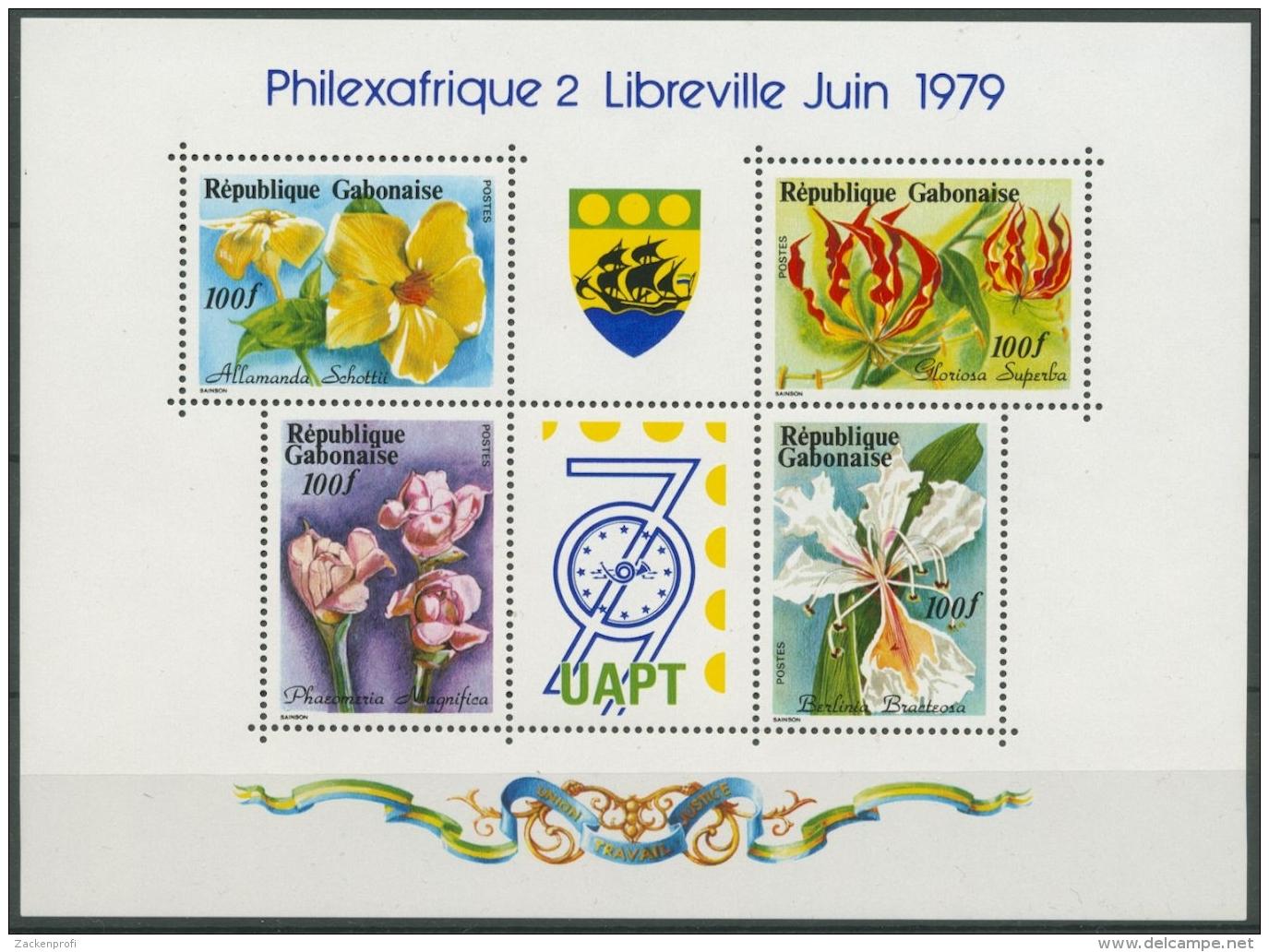 Gabun 1979 Blumen Ausstellung Philexafrique Block 37 Postfrisch (C26505) - Gabun (1960-...)