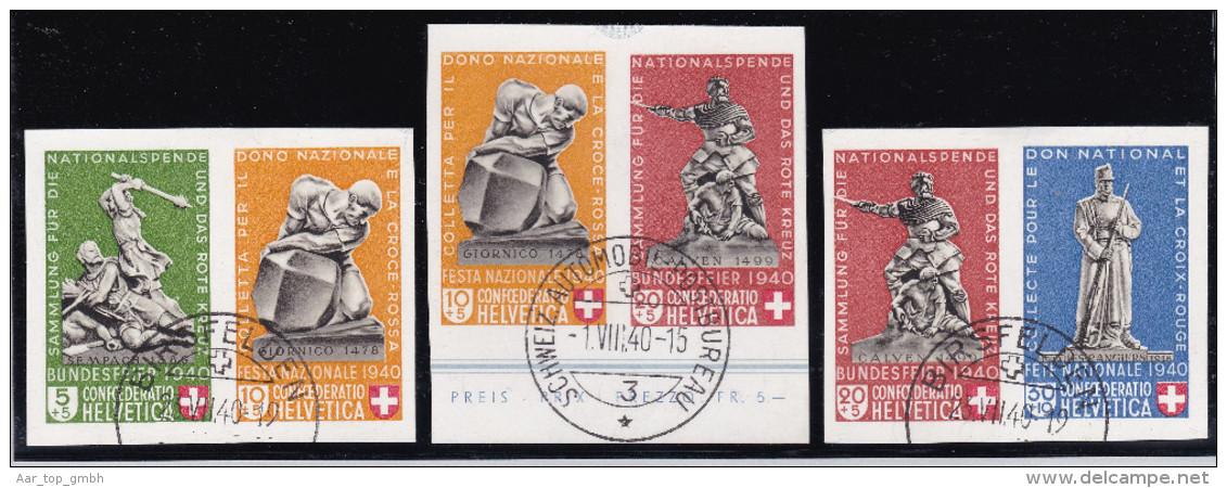 Schweiz Pro Patria 1940 PP Satz Blockausschn.Paare Zu#228-30 - Pro Patria