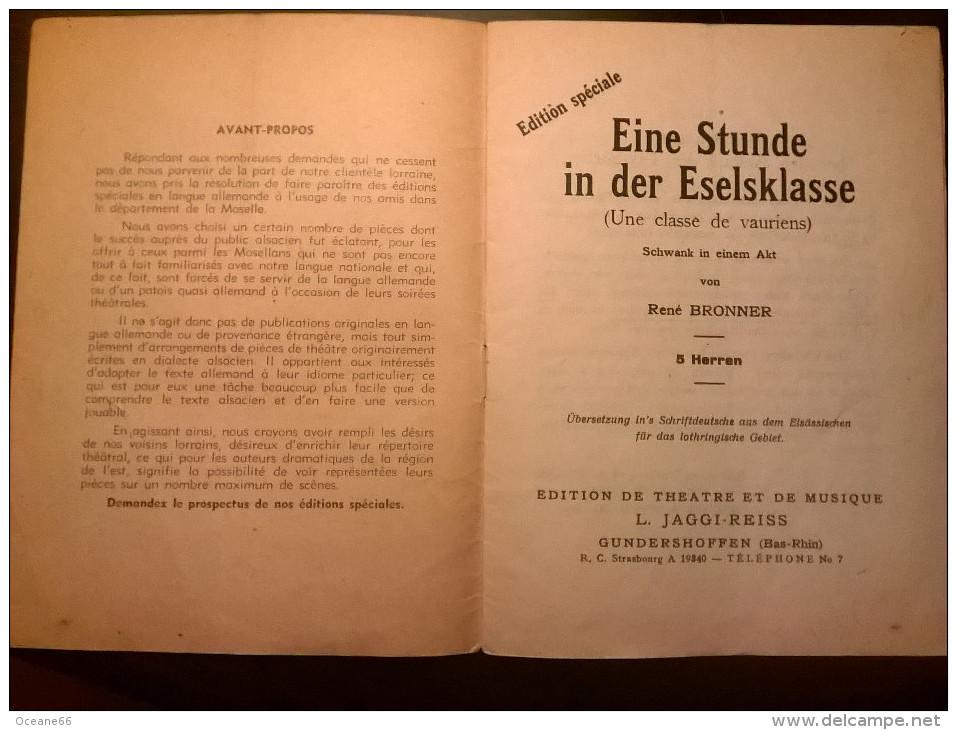 "Pièce De Théatre En Allemand De René BRONNER ""Eine Stunde In Der Eselsklasse"" - Theatre & Scripts"