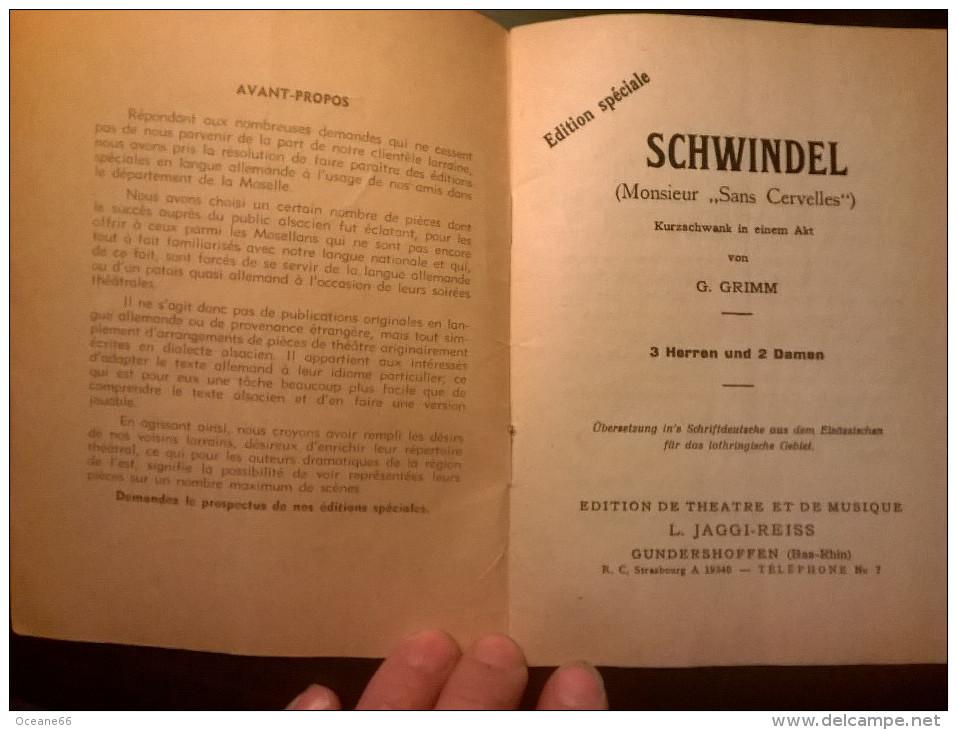 """Pièce De Théatre En Allemand De G. GRIMM """"Schwindel"""" (Monsieur Sans Cervelle) - Theatre & Scripts"""