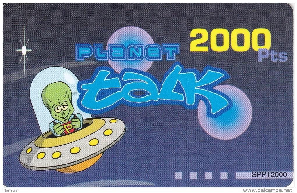TARJETA DE ESPAÑA DE 2000 PESETAS DE UN MARCIANO EN UNA NAVE ESPACIAL (OVNI) - Raumfahrt