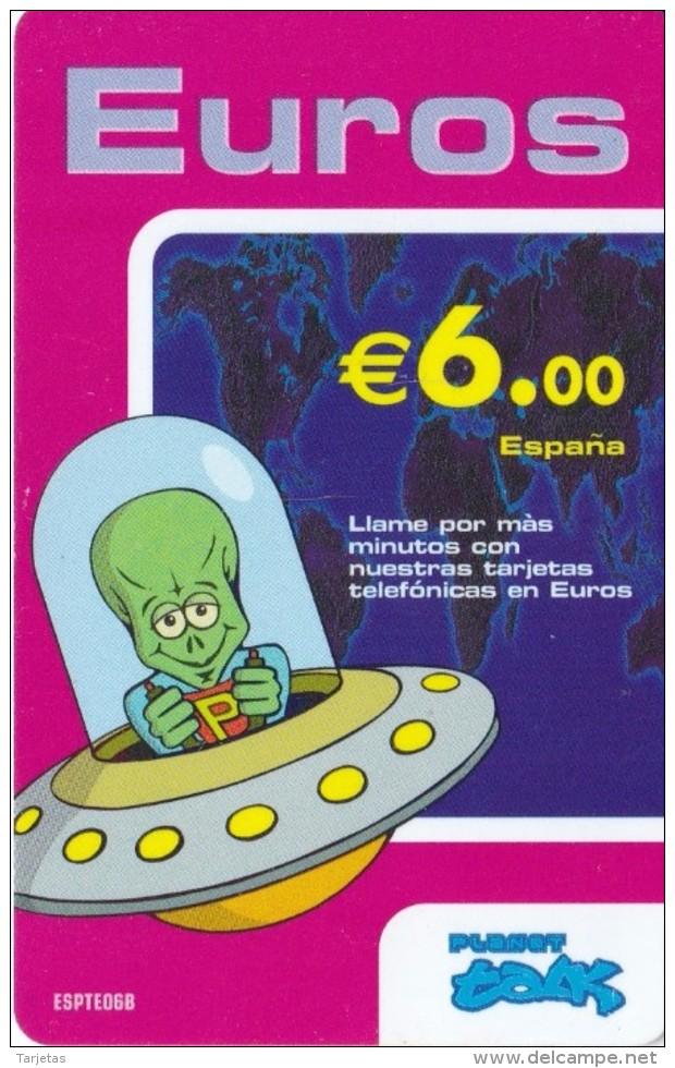 TARJETA DE ESPAÑA DE 6 EUROS DE UN MARCIANO EN UNA NAVE ESPACIAL (OVNI) - Espacio