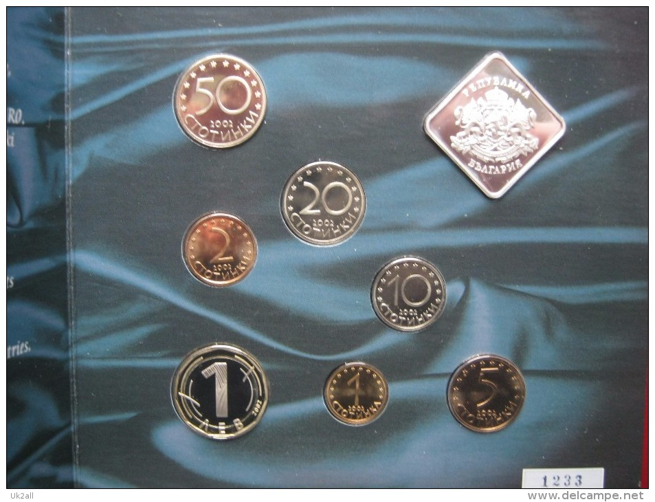 Bulgaria Mint 2002 7 Coin Collection Set 1 Stotinka - 1 Lev + Mint Token Sealed In Folder - Bulgaria