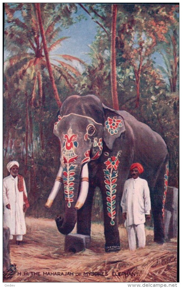 Inde, H.H. The Maharajah Of Mysores Elephant (Oilette 9850c) - India