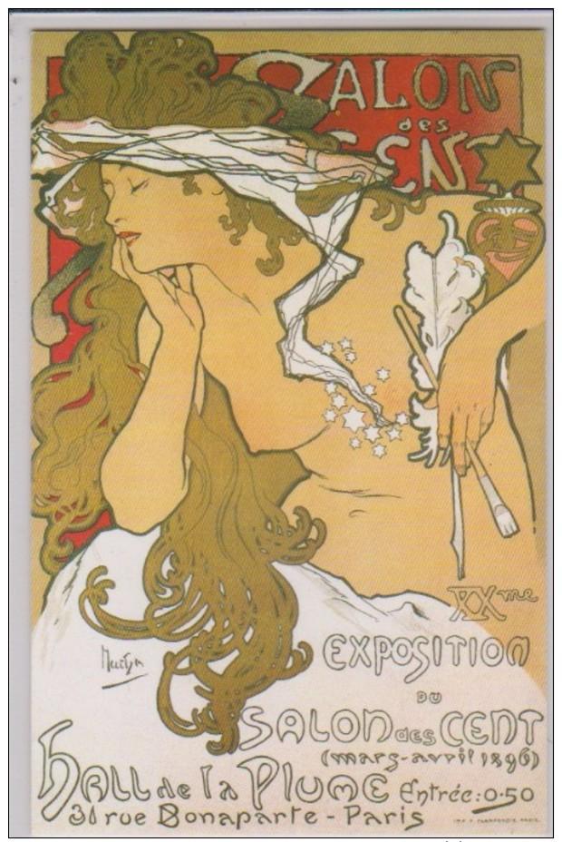 CP - MUCHA - Exposition Du Salon Des Cent - Double Carte. - Expositions