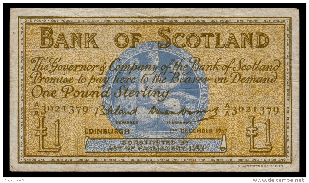 Scotland 1 Pound 1959 P.100c F - [ 3] Scotland