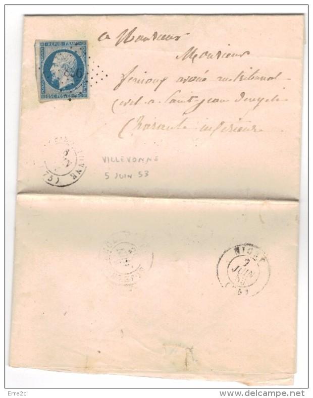 D514 - LETTRE YT10 SEUL SUR LETTRE  VILLEVONNE 5 JUIN 53 A CHARANTE  BELLE - 1852 Louis-Napoleon