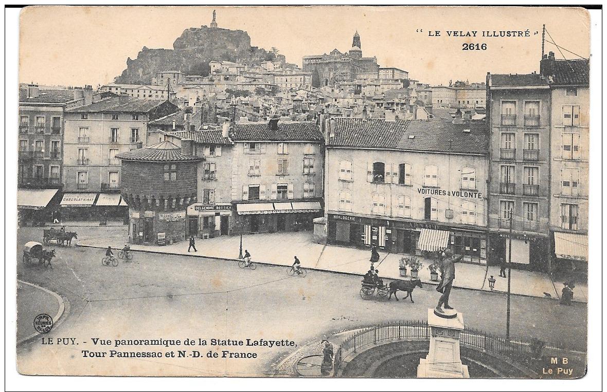 Cpa Le Puy  / Vue Panoramique De La Statue Lafayette - Tour Pannessac Et N.D. De France . - Le Puy En Velay