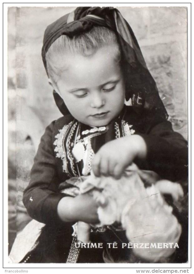 ALBANIE/ALBANIA - URIME TE PERZEMERTA/BEST WISHES / CHILD WITH DOLL / POSTA MILITARE ITALIANA 1942 - Albania