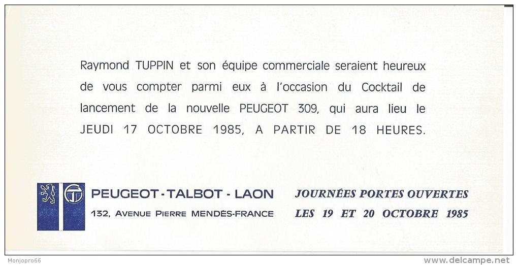 Carte D'invitation De Chez Peugeot Talbot De Laon Et De 1985 - Vieux Papiers