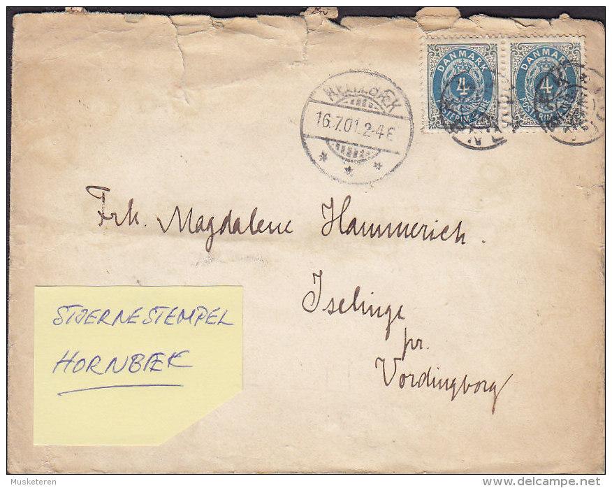 """Denmark HELLEBÆK 1901 Cover Brief Stjernestempel Star Cancel """"HORNBÆK"""""""" Sent To VORDINGBORG (2 Scans) - 1864-04 (Christian IX)"""