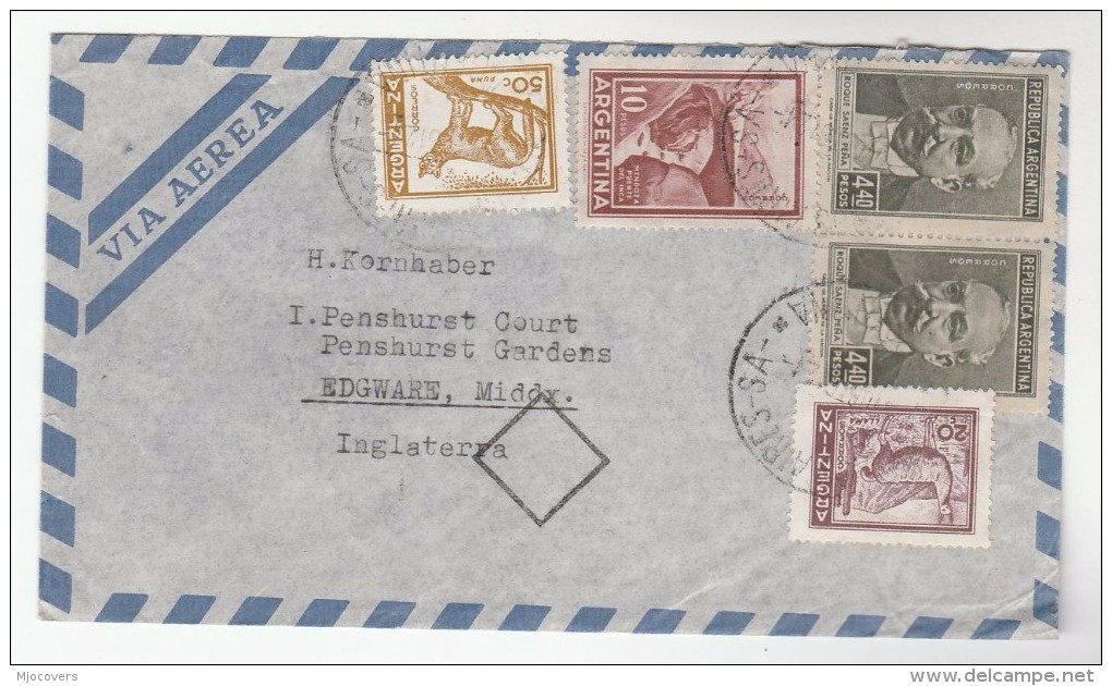 1961 Air Mail ARGENTINA Multi Stamps COVER To GB - Argentine