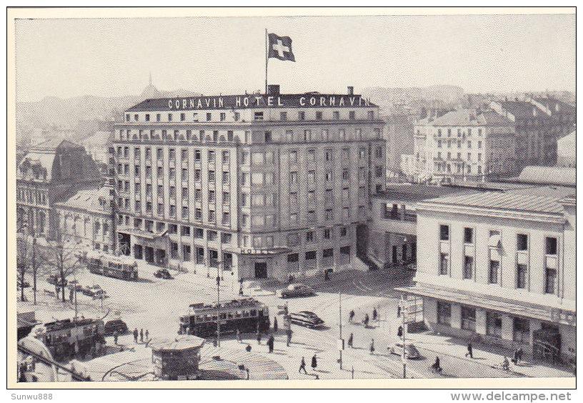 Genève - Hôtel Cornavin (animée, Tram, Tramway, Oldtimer) - GE Genève
