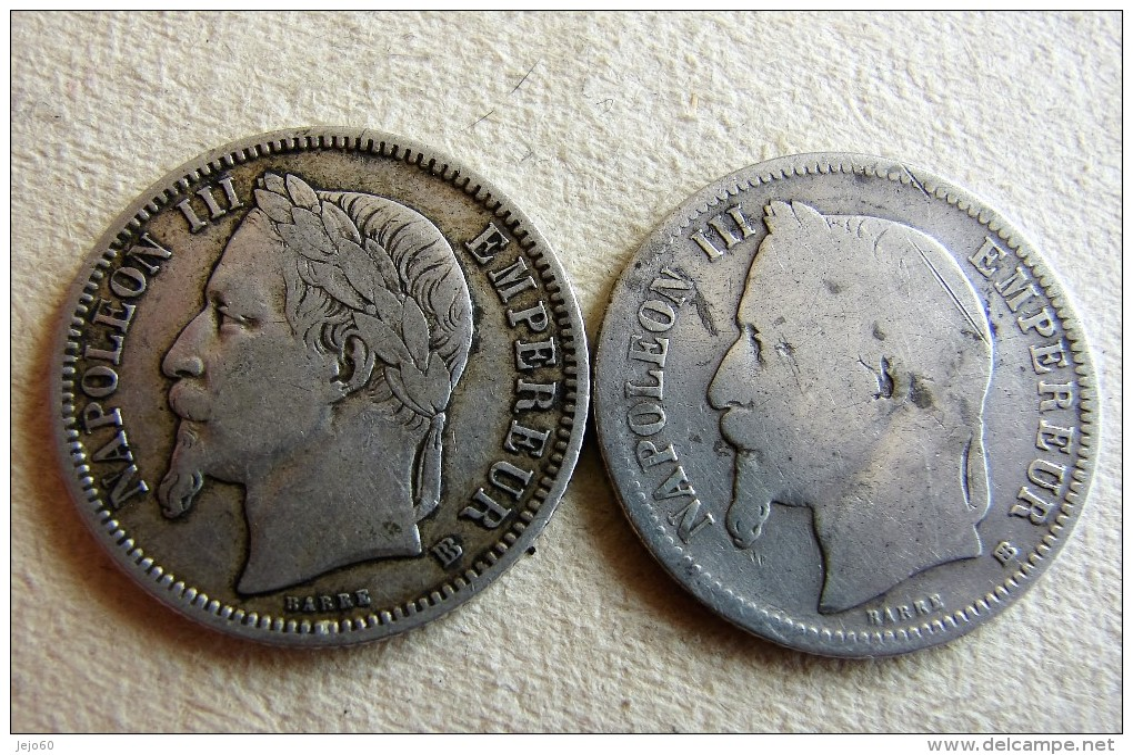 2 X 1 Franc 1868  Variété Lettre Atelier  Grand BB Et Petit BB - H. 1 Franco
